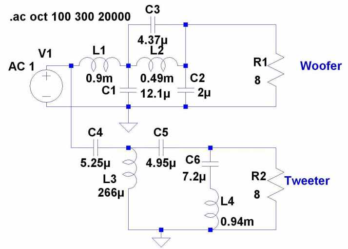 Here is a passive circuit using Cuadra's scheme.  It only needs one more capacitor than a fourth order crossover and...